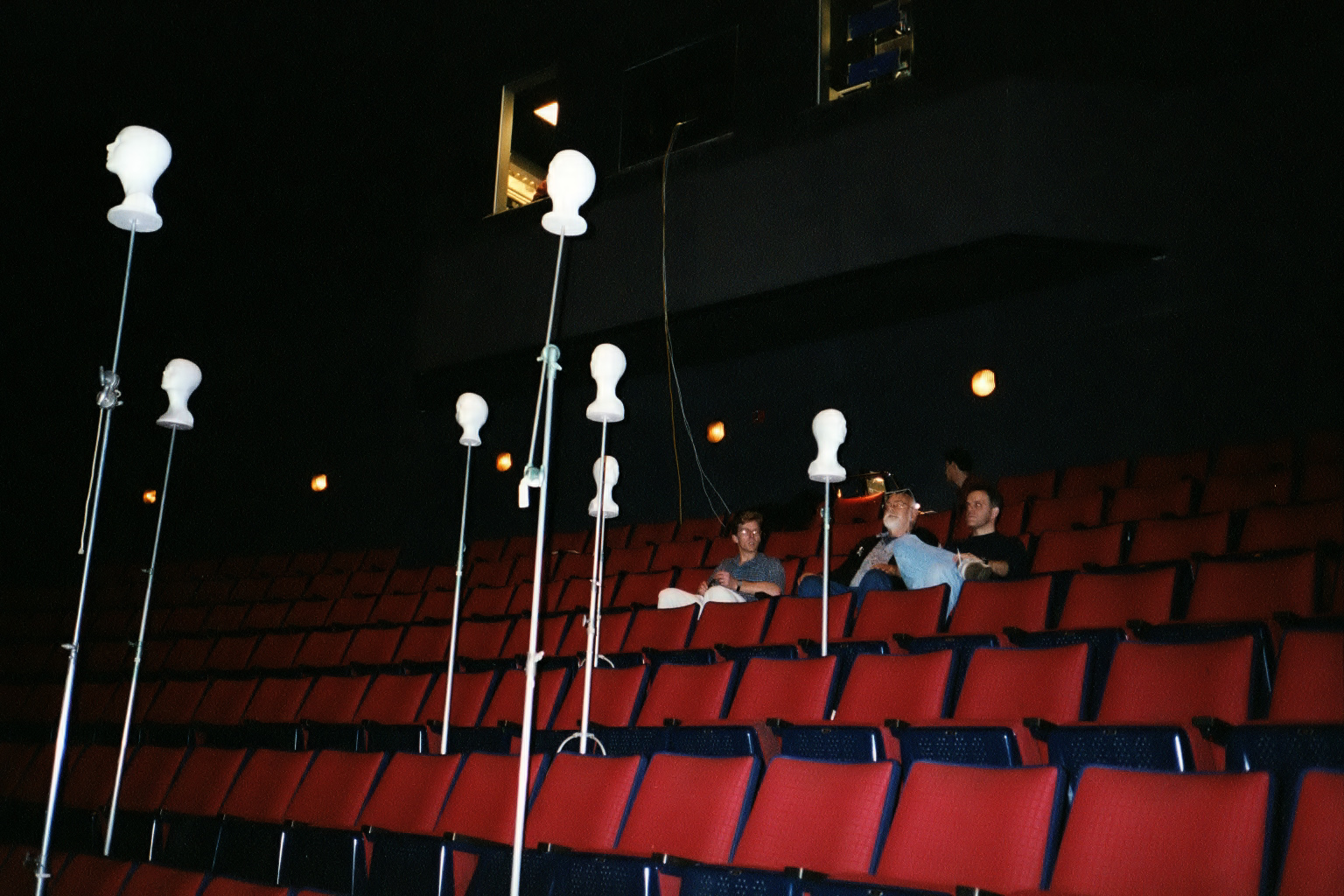 With Peter Anderson A.S.C. in production on Sesame Street 4D. The styrofoam heads were used in the stadium seating to get an idea what the audience would see.